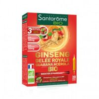 Santarome Bio Ginseng Gelée Royale Guarana Acérola Solution Buvable 20 Ampoules/10ml à Cavignac